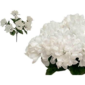 Amazon yepmax white mums silk fake flowers heads 15 wedding efavormart 84 chrysanthemum mums balls artificial wedding flowers white mightylinksfo