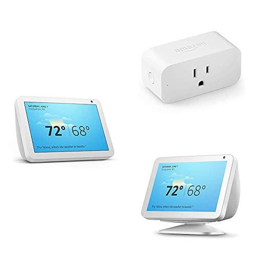 Echo Show 8 Sandstone with Adjustable Stand and Amazon Smart Plug