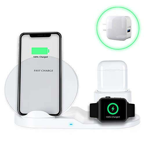 PeepCase 3-in-1 Wireless Quick Charging Station for Wireless Charging Station for Qi Enabled Smartphones 【White】