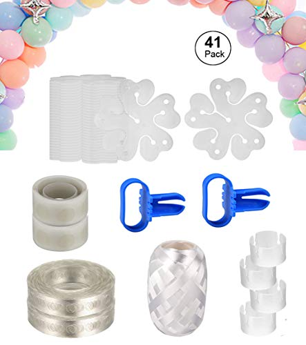 Balloon Arch Garland Decorating Strip Kit -2 Rolls Balloon Decorating Strip, 2pcs Balloon Tying Tool, 2 Rolls 100 Dot Glue, 30pcs Flower Clips 4pcs Ring Clips for Party Supplies Decorations (41 Pack) -