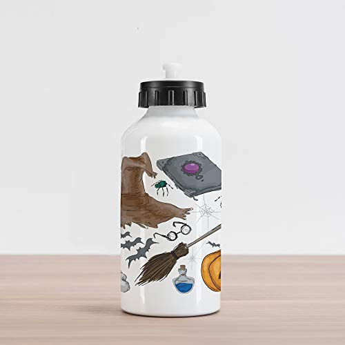 Ambesonne Halloween Aluminum Water Bottle, Magic Spells Witch Craft Objects Doodle Style Illustration Grunge Design Skull, Aluminum Insulated Spill-Proof Travel Sports Water Bottle, Multicolor]()