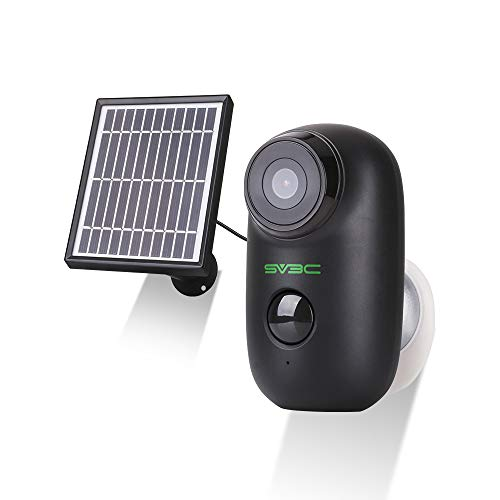 Wireless Battery Cameras, SV3C Solar 1080P WiFi IP Camera, Indoor Outdoor Rechargeable Security Camera, Two Way Audio Surveillance Camera, PIR Motion Detection Waterproof Camera, Supoort 128G SD Card
