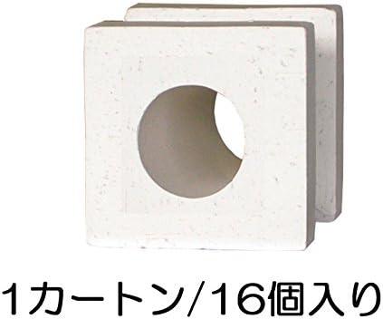 ブロック せっき質無釉ブロック ポーラスブロック100 白土 サークルA(配筋溝あり・4本角溝) 16個セット単位 屋外壁