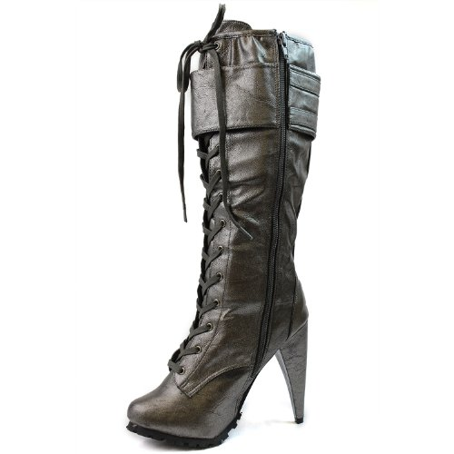 5 PU Boots Pewter Womens Color Motorcycle Vicky 12 Shoes Riding 5 BreckelleS Pewter xpwvT6pq7