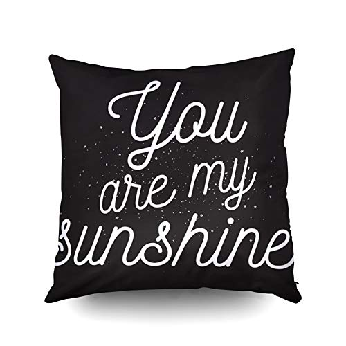 KIOAO Mudcloth Pillow Covers Easter Standard Pillow Cases 20X20Inch Soft Square Throw Pillowcase Covers You are My Sunshine Inscription Greeting Card Calligraphy Photo Printed with Both Sides