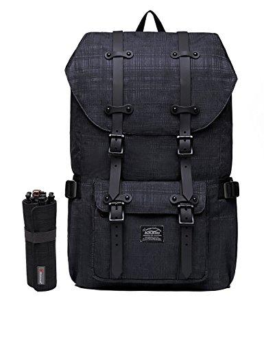 "KAUKKO Laptop Outdoor Backpack, Travel Hiking& Camping Rucksack Pack, Casual Large College School Daypack, Shoulder Book Bags Back Fits 15"" Laptop & Tablets (2Line Black(2pc))"