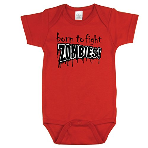 Zombie Baby Outfit, Born to Fight Zombies, Red 3-6 mo]()
