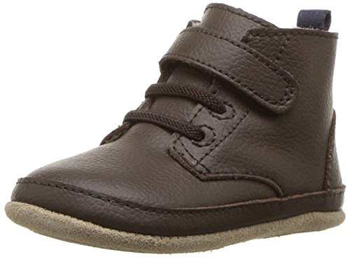 Robeez Boys' Nick Boot Crib Shoe, Nick Espresso, 12-18 Months M US Infant