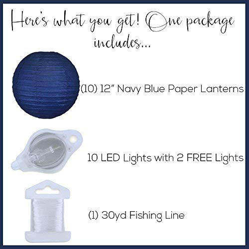Just Artifacts 12inch Decorative Round Chinese Paper Lanterns 10pcs w/ 12pc LED Lights and Clear String (Color: Navy Blue) by Just Artifacts (Image #1)