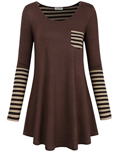 EMVANV Cotton Dresses For Women,Emvana Black Friday Amazon Tunic Top For Leggings For Juniors,Coffee (Brown Juniors Dress)