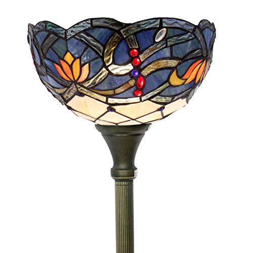 Tiffany Style Torchiere Light Floor Standing Lamp Wide 12 Tall 66 Inch Blue Lotus Series Stained Glass Lampshade for Living Room Bedroom Antique Table Set S220 Werfactory ()