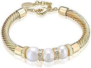 Mestige MSBR3203 Gold Lithe Freshwater Pearl Bracelet for Women