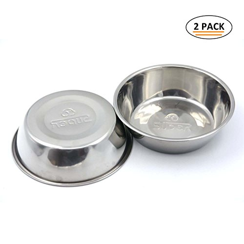 SUPER DESIGN Stainless Steel Pet Bowl Package for Dogs and Cats, 1 Pack of 2 , L