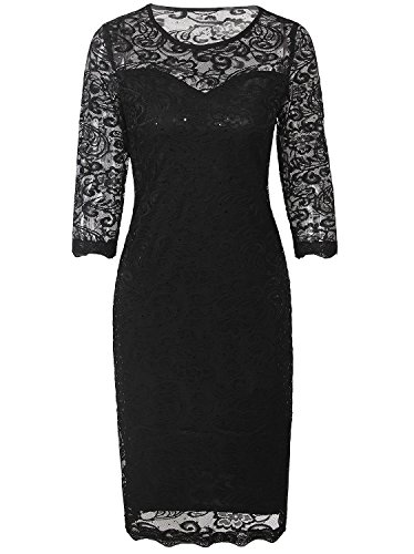 Vijiv Vintage Sequin Lace Cocktail Flapper Dress With 3/4 Sleeves For Wedding Party, Black, Small (Jewelry To Wear With Lace Wedding Dress)