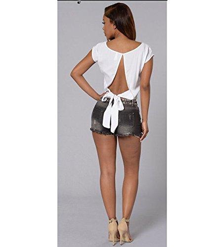 FuweiEncore strappati fori skinny Summer da Pantaloni Jeans Jeans bassa Pantaloni skinny Zipper donna donna a Nero con Jeans vita da grq1AUgw