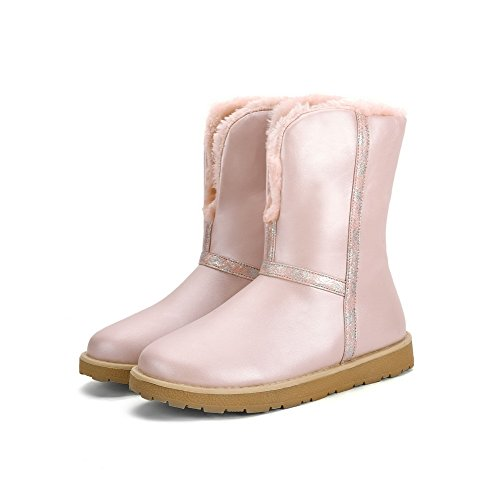 Pink Top Toe Women's WeenFashion Round Low Boots Color Closed PU Assorted Low Heels wXX67xq4t