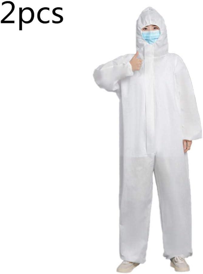 Und Au/ßenbereich Garneck 2 St/ück Einwegoveralls Atmungsaktive Sicherheitskleidung Staubdichte Kleidung Isolationskleidung mit Elastischem Handgelenk f/ür Den Innen Wei/ß