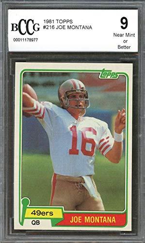 - 1981 topps #216 JOE MONTANA san francisco 49ers rookie card BGS BCCG 9 Graded Card