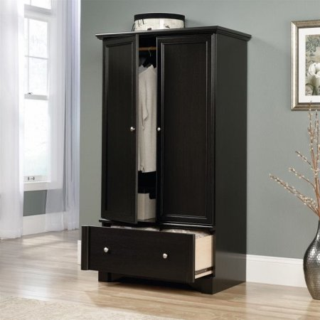 Superior Armoire Closet Waxed Black Wardrobe Furniture 2 Framed Doors Laminate Wood  Antiqued Metal Pulls Drawer With