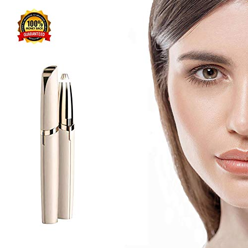 Electric Eyebrow Hair Remover Mini Eyebrow Trimmer Painless Safe Facial Hair Removal for Women As Seen On TV (Gold)