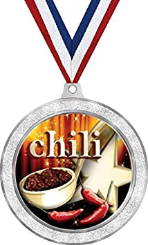 2 1//2 Silver Glitter Chili Cook Off Medals Chili Pot Medal Great Cooking Awards Prime