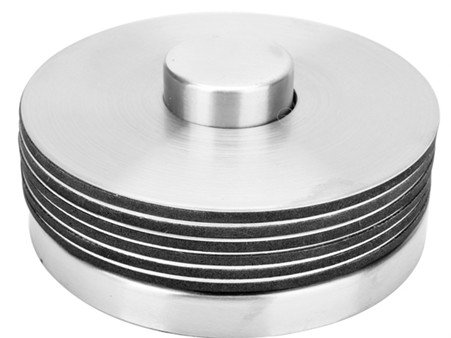 (6-Piece Coaster Set - Stainless Steel Disk with Holder)