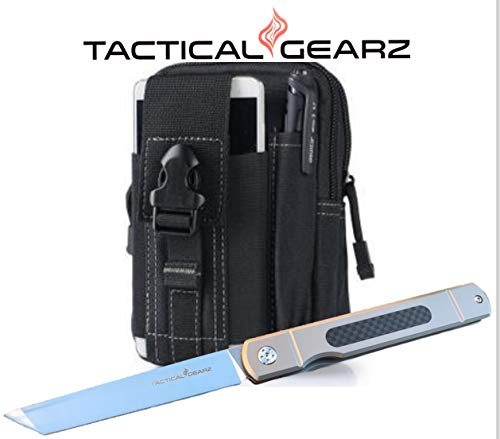 TG-Tatsu-Tc4-TitaniumCarbon-Fiber-Japanese-Style-EDC-Folding-Knife-wSheath-Polished-D2-Steel-Tanto-Blade-Ball-Bearing-Pivot-System