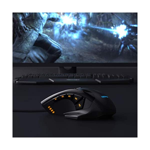 TeckNet M009 Gaming Mouse with 16400 DPI, Wired RGB LED Backlit Computer Mice, 10 Programmable Buttons, Weight Tuning…
