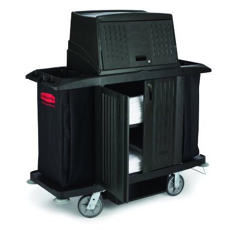Rubbermaid Commercial Utility Cart with Doors, Black, FG9T1900BLA by Rubbermaid Commercial Products