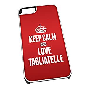 Cubierta blanca para iPhone 5/5S 1587 RED Keep Calm and Love Tagliatelle