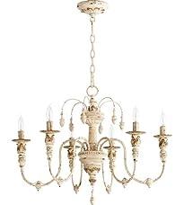 Quorum Salento 6 Light Up Chandelier in Persian White