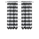 Deconovo Gray Striped Blackout Window Curtains Thermal Insulated Grey and Greyish White Striped Curtains for Bedroom 52W X 63L Gray 2 Panels
