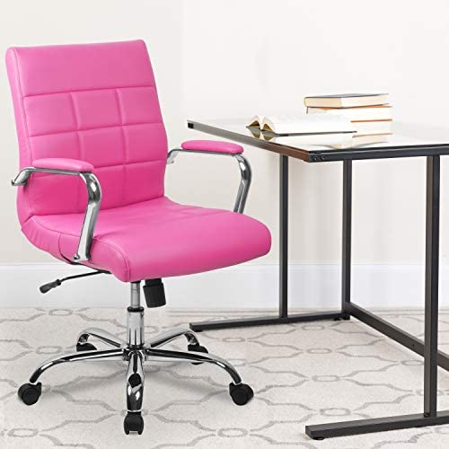 EMMA OLIVER Mid-Back Pink Vinyl Executive Swivel Office Chair