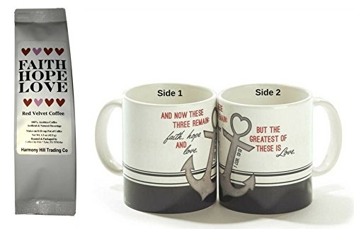 Anchor Your Faith But the Greatest of These is Love 1 Coffee Mug with 1 Faith Hope Love Red Velvet Coffee Christian Scripture Gift Set 2 Item Bundle by Mixed