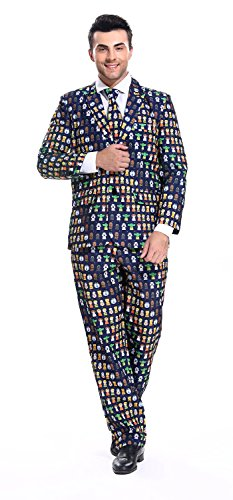 U LOOK UGLY TODAY Mens Party Suit Funny Costume Novelty Funny Suit Jacket with Tie Kull Plant-Medium -