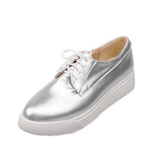Tacón Zapatos Pu Cordón Puntera Redonda Plateado Bajo De Aalardom Mujeres qTxwa7A7I