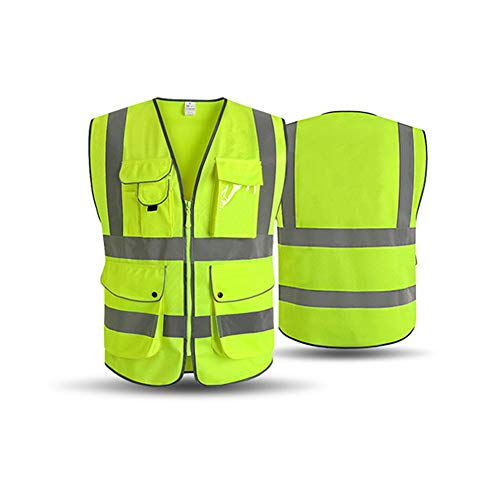 XIAKE SAFETY - Class 2 High Visibility Safety Vest with Pockets and Zipper ANSI/ISEA Standards Yellow (Small) by XIAKE SAFETY (Image #1)