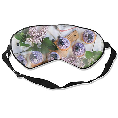 Silk Sleep Mask Blindfold Eyeshade Muffins Blueberry Cream Lilac Breathable Soft Protect Eye Mask for Travelling, Sleeping, Relaxation, Spa, Daydream on Plane - Lilac Daydream