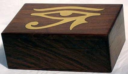 Decorativo para cajas Tarot Egipcio Horus ojo latón incrustaciones a mano en madera 4