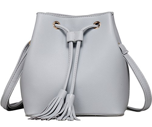 Mini Bucket Bag Leather Fringe Shoulder Purse Drawstring Handbag for Teen Girls and Women (Grey)