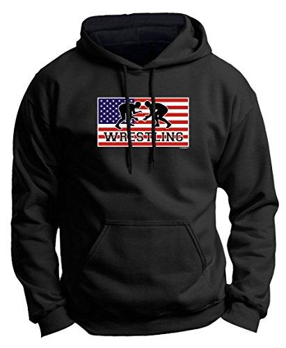 Wrestling Knee Pads American Pride Wrestling Premium Hoodie Sweatshirt Medium Black - Last Names Mens Hoodie