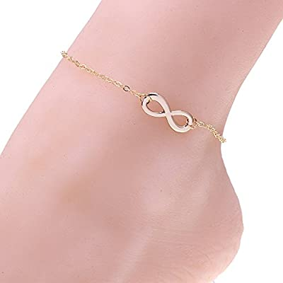 ISHOW Sexy Women Infinity Charm Gold Tone Chain Barefoot Anklet Bracelet Foot Chain Jewelry