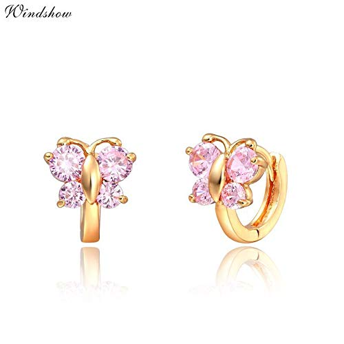 Cute Pink Cz Butterfly Small Huggie Hoop Earrings for Women Girls Kids Children Baby Yellow Gold Color Animal Jewelry