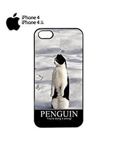 Penguin Cat You Are Doing it Wrong Cell Phone Case Cover iPhone 4&4s White by lolosakes