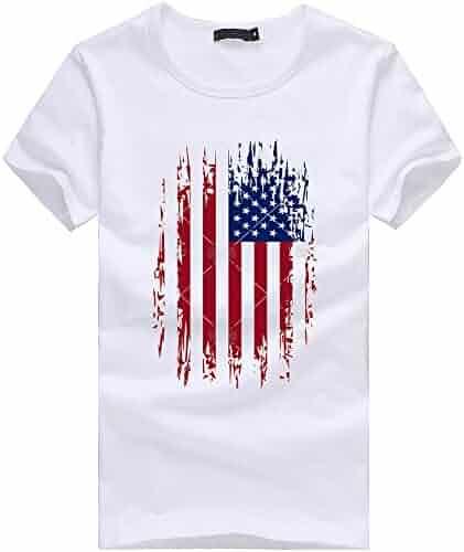 d4810ad3629d Gyoume American Flag Tops,Mens Plus Size Flag Print T Shirt Blouse Mens  Patriotic Tank