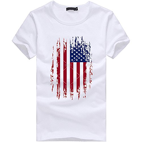 (ANJUNIE Fourth of July New Mens US Flag T-Shirt Muscle Build Tactical Tee American Patriotic Tercel Tee(White4,L))