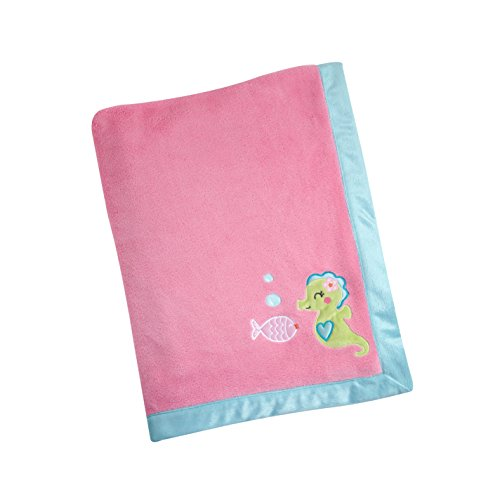 Carter's Sea Collection Appliqued Blanket, Pink/Blue/Turquoise