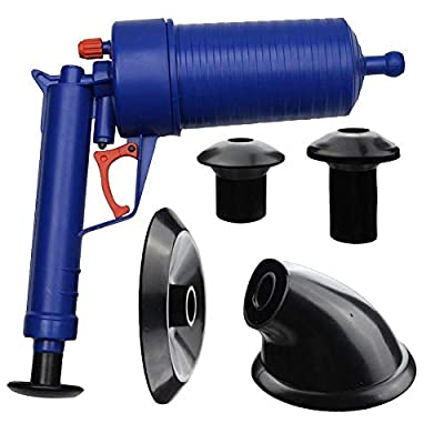 Air Power Drain Blaster, High Pressure Powerful Manual sink Plunger Opener Cleaner Pump for Toilet Bathroom, Shower, Kitchen Clogged Pipe, Dredging Home Toilet Bathtub Sink with 4 Suckers #29688