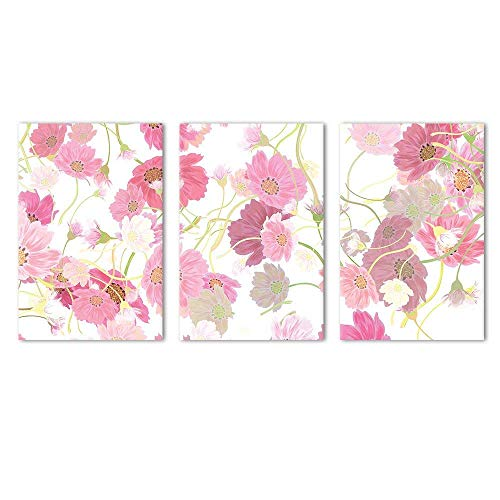 wall26 - 3 Panel Canvas Wall Art - Pink Floral Pattern - Giclee Print Gallery Wrap Modern Home Decor Ready to Hang - 16