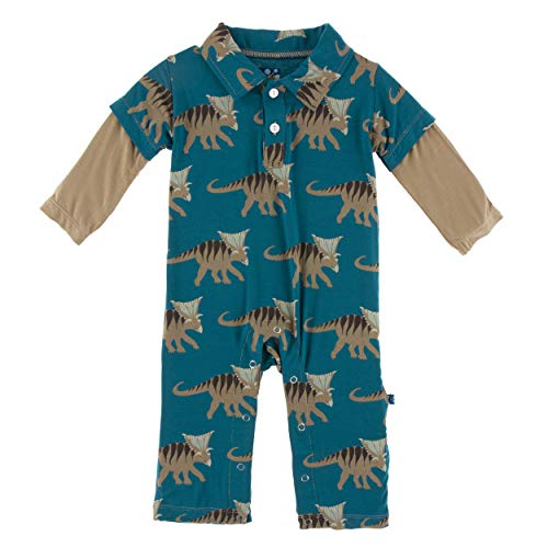 KicKee Pants Print Long Sleeve Double Layer Polo Romper (6-12 Months, Heritage Blue Kosmoceratops)
